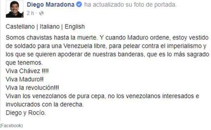 Maradona appoggia Maduro: Vestirò da soldato per un Venezuela libero contro l'imperialismo